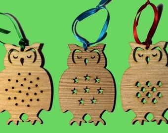 Spruce Moose and Owl Christmas Decorations