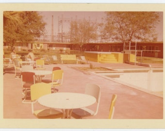 Vintage Type C Snapshot Photo Print from Kodacolor Negative: Yellow Poolside, 1957 (610512)
