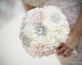 Handmade Blush Bridal Fabric and Brooch Bouquet /  Wedding Brooch Bouquet / Made to Order
