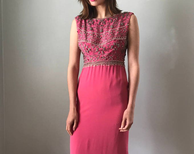 Vintage 60s Pink Beaded Jackie O Gown