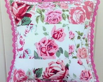 vintage pink rose patchwork pillow cover 16x16