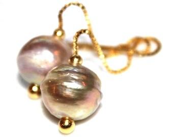 Baroque Pearl Earrings Rainbow Pearl Earrings Pearl Threader Earrings Pondslime Pearl Jewelry Pearl Ear Threads FizzCandy