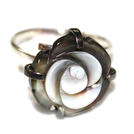 Mother of Pearl Ring Carved Pearl Ring Adjustable Ring Rose Ring Fun Ring Chunky Ring Large Ring Black Ring Carved Pearl