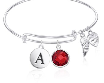 Childrens Initial Expandable Wire Bangle Bracelet with Birthday Charm For Girls, Teens GIFT BOXED