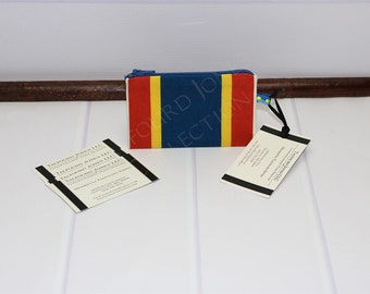 Blue, Yellow, Red Stripe Money Wallet - Zipper ID Card Holder - Credit Card Case - Gift Card Case - Store Card Holder - Knitting Notions
