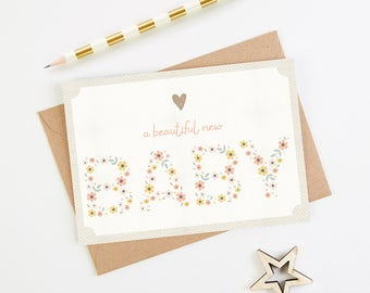 New Baby Girl Card Pink Floral