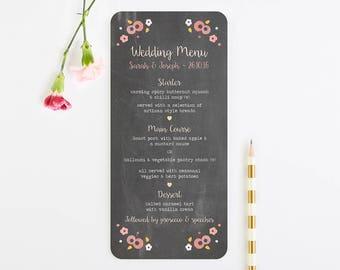 Berry Floral Chalkboard Wedding Menu