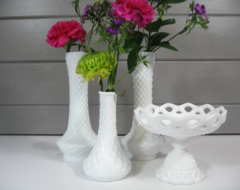 Milk Glass Vases, Wedding Table, Pedestal Bowl, Milk Glass, Bridesmaid Gifts
