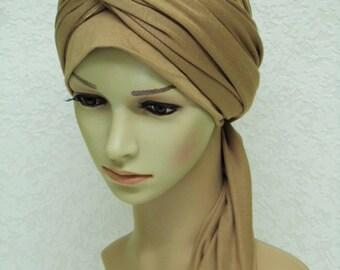Volume turban snood, women's head wear, bad hair day head scarf, turban with long ends, twisted turban hat, elegant turban hat with ties