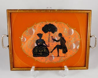 Silhouette Tray, Art Deco, Romantic Couple in Victorian Dress, Reverse Painting, Black Silhouette on Glass, Vintage Tray