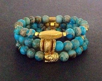 Blue bead bracelets, blue bracelets, blue beads,  jasper beads, jasper bracelets, blue jasper