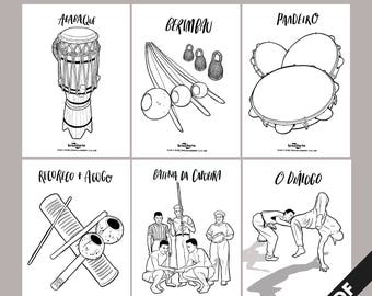 Brazilarte Printable colouring pages A4 // Vol.1 Capoeira Instruments