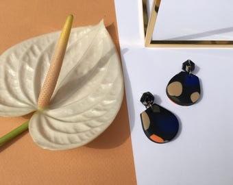 Black Confetti Geo Bell Drop Earrings