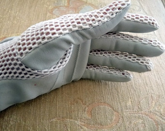 Vintage Beige Open Mesh Gloves