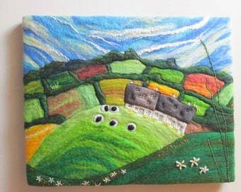 felted art, textile art on canvas. wall art