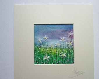 textile art, embroidered wall art, daisy meadow, matted to frame