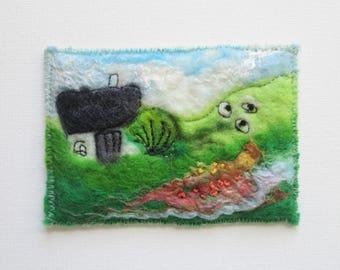 felt art aceo, textile landscape, wet felted