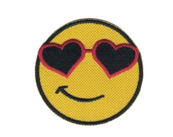 Smiley Face with Sunglasses Iron on Applique  Iron on Patch