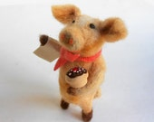 Needlefelted pig chef baker handfelted wool fiber sculpture whimsical felt doll with cupcake pastry bake shop figure
