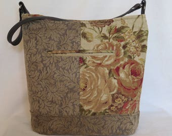 Bucket Bag Linen Floral and Brocade