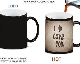 I Love You with Heart Morph Morphing Color Changing Ceramic Coffee Mug Tea Cup 11oz, 0003689