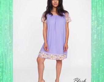 Stunning Vintage Nylon Purple Slip Dress / Night Dress with Gorgeous Lace Trim