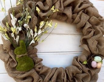 Neutral Tone Burlap Easter Bunny Wreath--Spring Burlap Wreath--Easter Burlap Wreath--Front Door Wreath