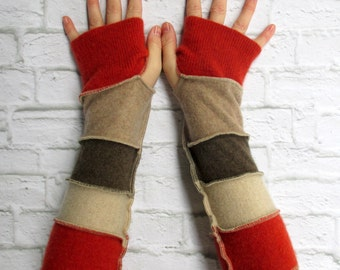Upcycled Clothing - Cashmere Gloves - Earth Tones - Woodland - Arm Warmers - Earth Friendly - Eco - Rust - Tan - Long Fingerless Gloves