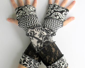 Handmade  - Arm Warmers - Gypsy Style - Black Lace - Festival Gloves - Gift for Her - Recycled Sweaters - Black & White - Repurposed