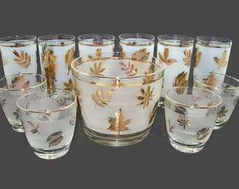 11 Piece Set Libbey Golden Foliage Cocktail Set, 6 Tumblers, 4 Rocks Glasses, Ice Bucket, Frosted Glass with Gold Leaves, Libby Gold Leaf