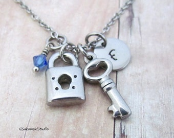 Key and Lock Stainless Steel Charm Necklace, Personalized Hand Stamped Initial Birthstone Key Lock Charm Necklace
