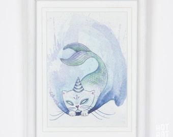 The Purrr-tle II - cat art, mermaid art, underwater art, mini art, watercolor painting, small original, framed original, original art