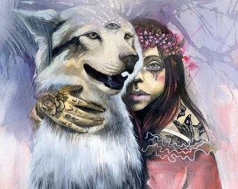 Kindred Spirits - spirit animal, fine art print,husky, large dog, wolf dog, wolf, dog painting,  shamanism, visionary art