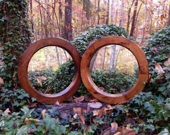 """18"""" Round Mirror, Rustic Round Mirror, Small Round Mirror, Accent Mirror, Alder Mirror, Round Wood Mirror"""