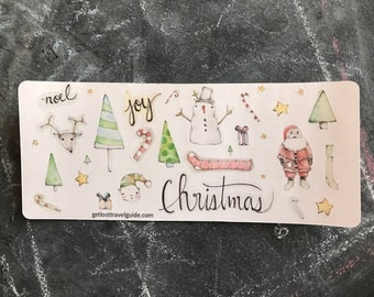 Christmas, Christmas Stickers, December Planner Pages, Watercolor Stickers