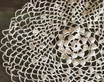 """Ecru Crocheted Doily / Vintage Cotton Crocheted Doily Unusual Open Weave Pattern 13"""""""