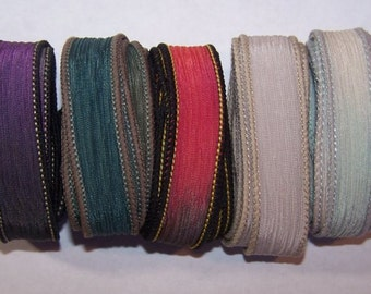 Discontinued/Experimental Ribbons/ Sassy Silks Hand Painted/Dyed Ribbons  Lot 100-0724