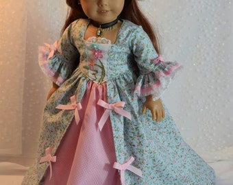 Rosebuds American Girl Colonial Gown for Felicity doll