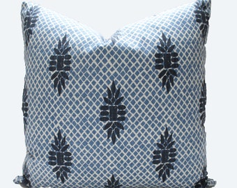 Decorative Designer Lacefield Boca Wedgewood Blue Pillow Cover, 18x18, 20x20, 22x22 or Lumbar Throw Pillow