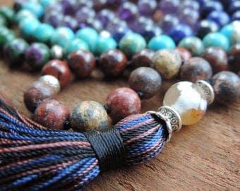 7 Chakra Mala, 108 Prayer Beads, Chakra Necklace, Healing Meditation Bracelet, Yoga Bracelet, Buddhist Necklace