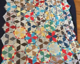 Vintage Hand Pieced Quilt Top