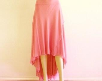 Dusty Rose Bridesmaid Skirt. Dusty Rose High Low Skirt. Long Evening Skirt. Chiffon Floor Length Skirt.