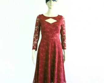 Burgundy Lace Bridesmaid Dress. Dress With Sleeves.