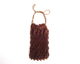 Vintage French 1920s Art Deco Flapper Copper Beaded Drawstring Evening Purse