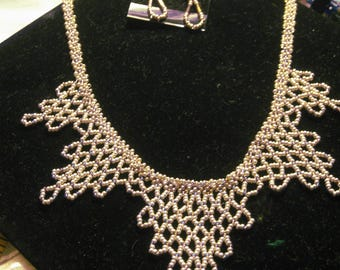 Silver and Gold Harlequin Necklace and Earring Set, Peyote Stitched