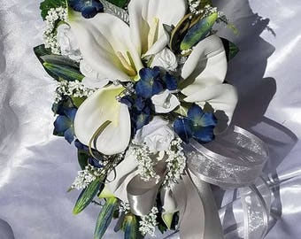 Silk Wedding Bridal Bouquet Set White, Silver, Lilies Silk Flowers