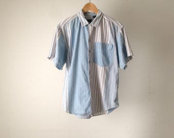 90s vertical STRIPED denim color block oxford button up shirt