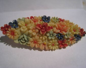 Vintage Multi-Color Celluloid Flower Brooch **FREE SHIP**