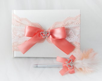 Coral and white wedding guest book with stylo, Satin and lace guestbook, Wedding guest book, Shabby chic coral guestbook, Heart guest book