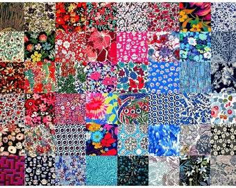 "Liberty of London 48 Mini 2.5"" Charm Square Pack Bundle Patchwork Quilting Deep Dark Bold Colours + Grey Black Cotton Tana Lawn Fabric"